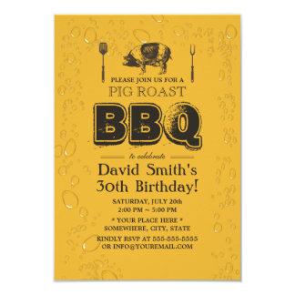 """Fiesta de cumpleaños del Bbq y de la cerveza de la Invitación 3.5"""" X 5"""""""