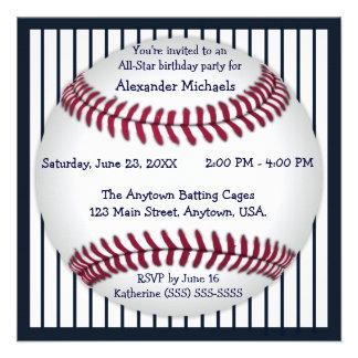 Fiesta de cumpleaños del béisbol de las telas a ra anuncios personalizados