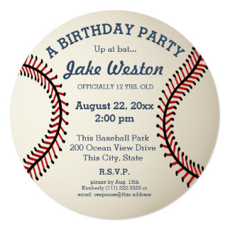 """Fiesta de cumpleaños del béisbol invitación 5.25"""" x 5.25"""""""