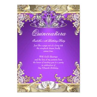 """Fiesta de cumpleaños del blanco púrpura del oro de invitación 5"""" x 7"""""""