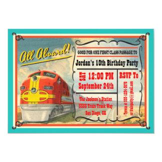 Fiesta de cumpleaños del boleto de tren del invitación 12,7 x 17,8 cm