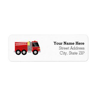 Fiesta de cumpleaños del bombero del Firetruck Etiquetas De Remite