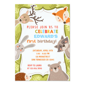 """Fiesta de cumpleaños del bosque del arbolado invitación 5"""" x 7"""""""