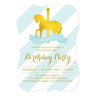 """Fiesta de cumpleaños del caballo del carrusel de invitación 5"""" x 7"""""""
