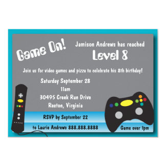 """Fiesta de cumpleaños del camión del videojuego invitación 4.5"""" x 6.25"""""""
