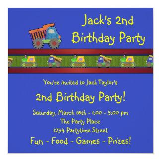 Fiesta de cumpleaños del camión volquete de los invitacion personalizada