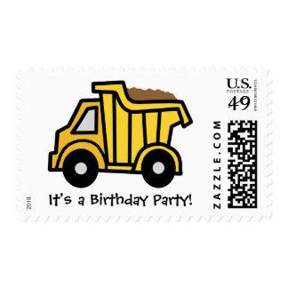 ¡Fiesta de cumpleaños del camión volquete del clip Sellos