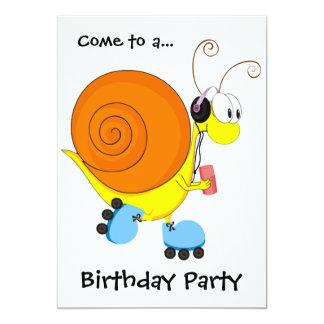 """Fiesta de cumpleaños del caracol del patinaje invitación 5"""" x 7"""""""