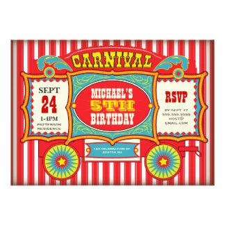 Fiesta de cumpleaños del carro del carnaval del ci invitacion personal