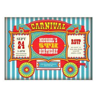 Fiesta de cumpleaños del carro del carnaval del ci comunicado personalizado