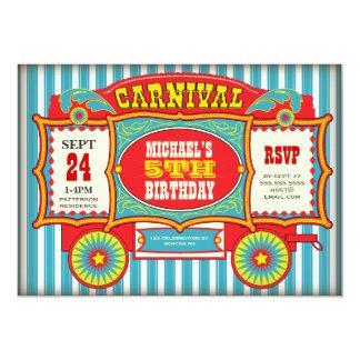 """Fiesta de cumpleaños del carro del carnaval del invitación 5"""" x 7"""""""