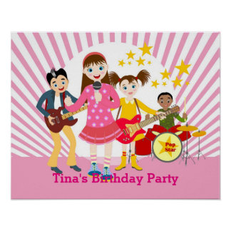 Fiesta de cumpleaños del chica del estrella del póster