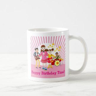 Fiesta de cumpleaños del chica del estrella del taza básica blanca