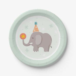 Fiesta de cumpleaños del circo del elefante platos de papel