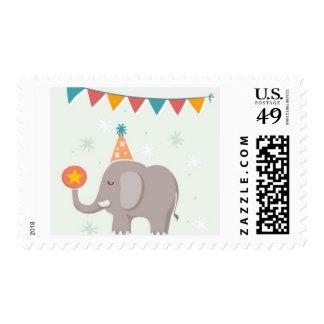Fiesta de cumpleaños del circo del elefante timbres postales