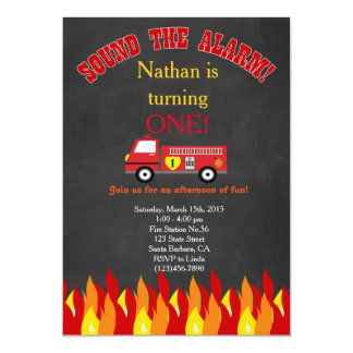 Fiesta de cumpleaños del coche de bomberos del invitación 12,7 x 17,8 cm