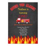 """Fiesta de cumpleaños del coche de bomberos del invitación 5"""" x 7"""""""