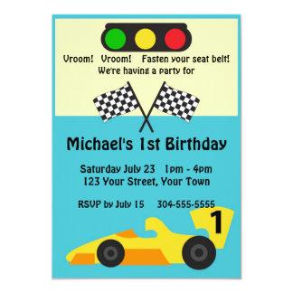 Fiesta de cumpleaños del coche de carreras invitación 12,7 x 17,8 cm