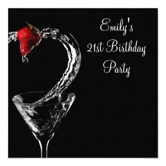 """Fiesta de cumpleaños del cóctel de Martini de la Invitación 5.25"""" X 5.25"""""""