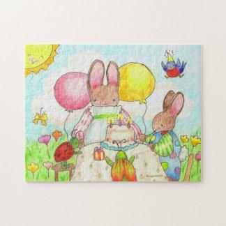 fiesta de cumpleaños del conejito y del insecto puzzle con fotos