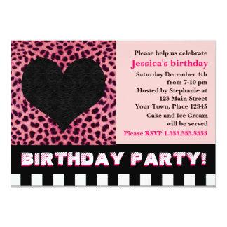 Fiesta de cumpleaños del corazón del guepardo - invitación personalizada