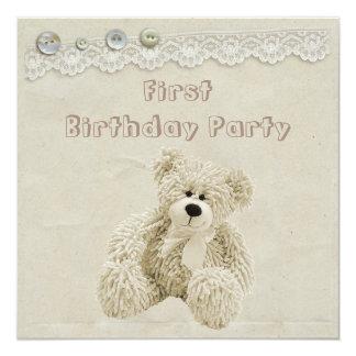 Fiesta de cumpleaños del cordón del vintage del invitación 13,3 cm x 13,3cm