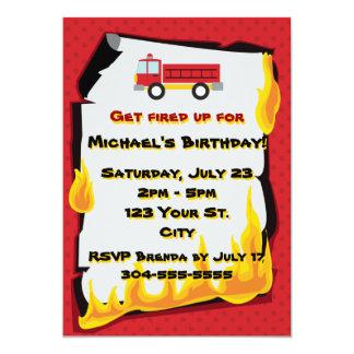 """Fiesta de cumpleaños del cuerpo de bomberos invitación 5"""" x 7"""""""