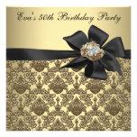 Fiesta de cumpleaños del damasco negro del oro 50. anuncios