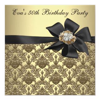 Fiesta de cumpleaños del damasco negro del oro invitación 13,3 cm x 13,3cm