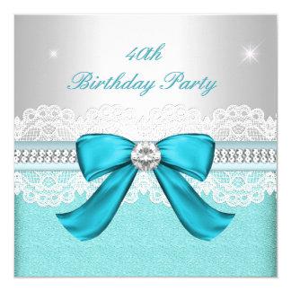"""Fiesta de cumpleaños del diamante de plata del invitación 5.25"""" x 5.25"""""""