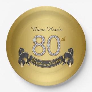 Fiesta de cumpleaños del diamante del oro 80.a plato de papel de 9 pulgadas