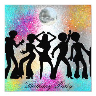 """Fiesta de cumpleaños del disco de la danza invitación 5.25"""" x 5.25"""""""