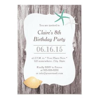"""Fiesta de cumpleaños del Driftwood de las Invitación 5"""" X 7"""""""