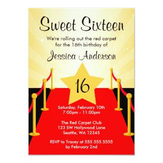 """Fiesta de cumpleaños del dulce 16 de Hollywood de Invitación 4.5"""" X 6.25"""""""
