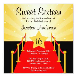 """Fiesta de cumpleaños del dulce 16 de Hollywood de Invitación 5.25"""" X 5.25"""""""
