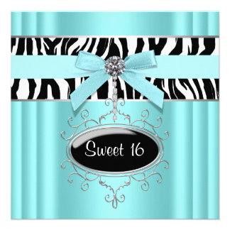 Fiesta de cumpleaños del dulce 16 de la cebra del  invitación