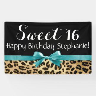 Fiesta de cumpleaños del dulce 16 del estampado lona