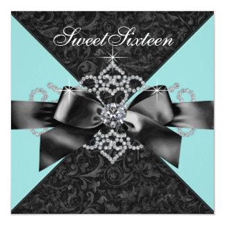 """Fiesta de cumpleaños del dulce 16 del negro azul invitación 5.25"""" x 5.25"""""""