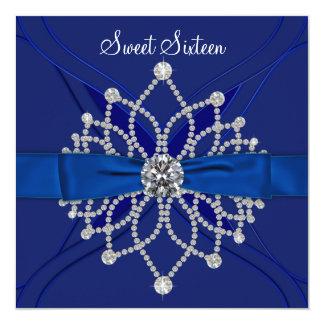 Fiesta de cumpleaños del dulce dieciséis del azul invitación 13,3 cm x 13,3cm