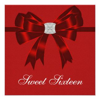 Fiesta de cumpleaños del dulce dieciséis del rojo comunicado personalizado