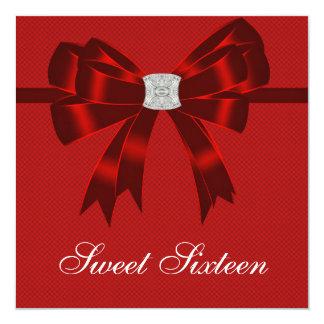 """Fiesta de cumpleaños del dulce dieciséis del rojo invitación 5.25"""" x 5.25"""""""