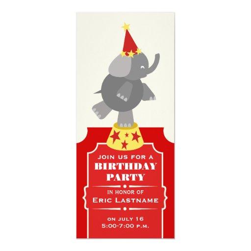 Fiesta de cumpleaños del elefante del boleto del invitación 10,1 x 23,5 cm