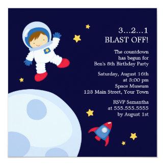 """Fiesta de cumpleaños del espacio del astronauta invitación 5.25"""" x 5.25"""""""