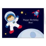 Fiesta de cumpleaños del espacio del astronauta felicitacion
