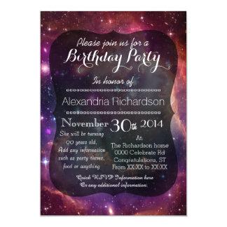 Fiesta de cumpleaños del espacio exterior de la invitación 12,7 x 17,8 cm
