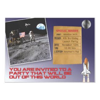 Fiesta de cumpleaños del espacio invitación 12,7 x 17,8 cm