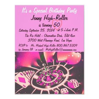 Fiesta de cumpleaños del estilo de Las Vegas Invitación 10,8 X 13,9 Cm