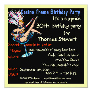 """Fiesta de cumpleaños del estilo del casino de invitación 5.25"""" x 5.25"""""""