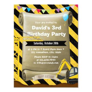 """Fiesta de cumpleaños del excavador de la invitación 4.25"""" x 5.5"""""""