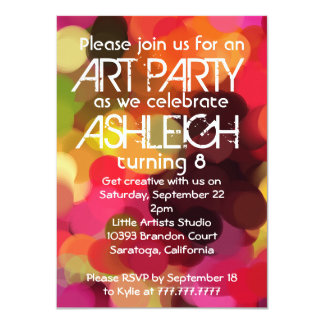 Fiesta de cumpleaños del fiesta de la pintura del invitación 11,4 x 15,8 cm